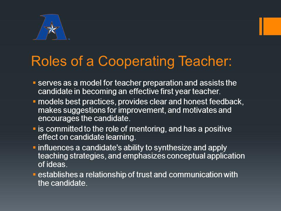 Roles of a Cooperating Teacher: