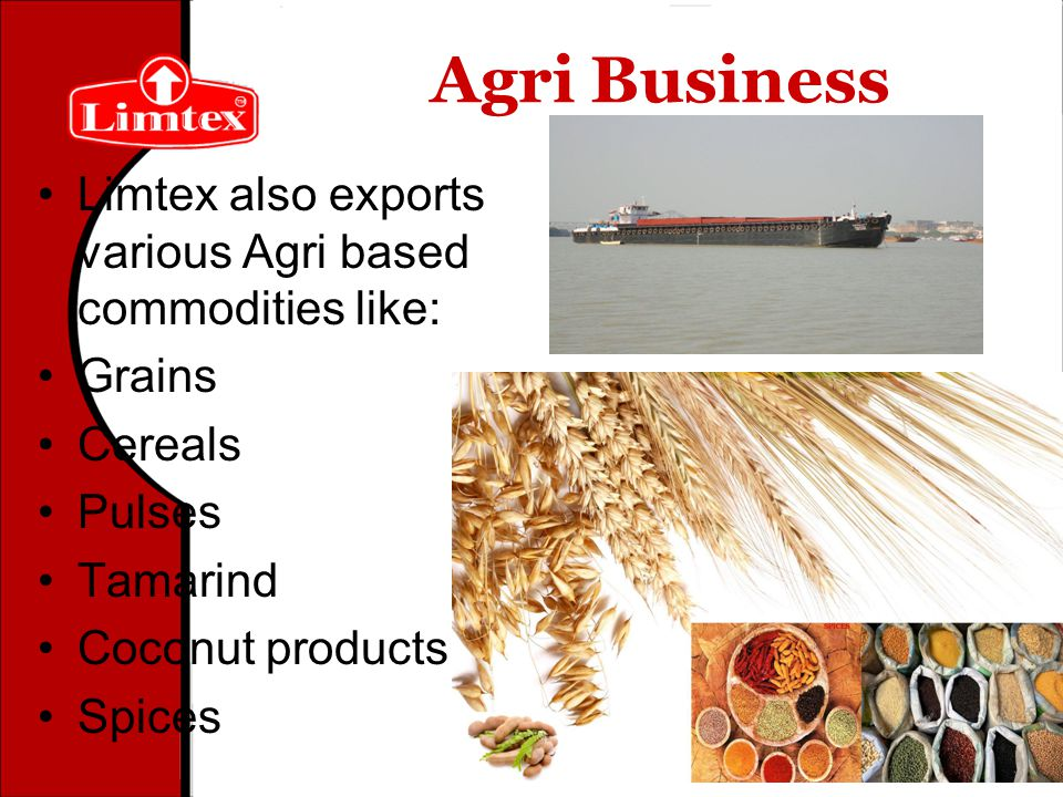 Agri Business Limtex also exports various Agri based commodities like: