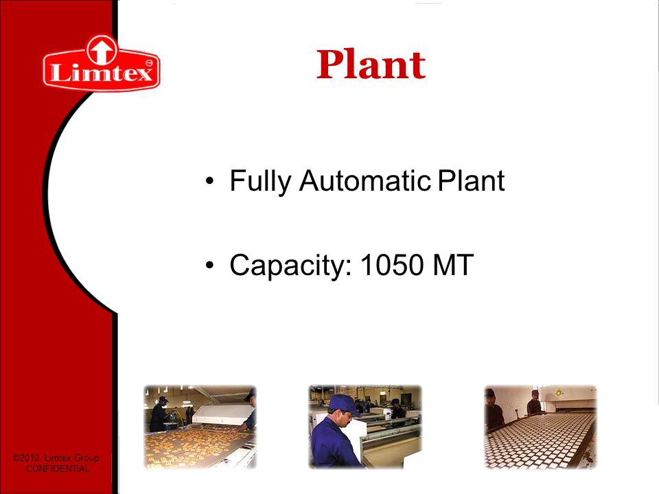 Plant Fully Automatic Plant Capacity: 1050 MT ©2010 Limtex Group