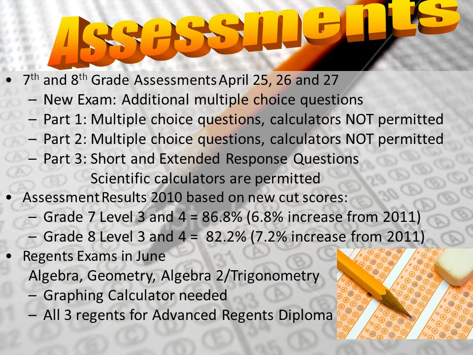Assessments New Exam: Additional multiple choice questions