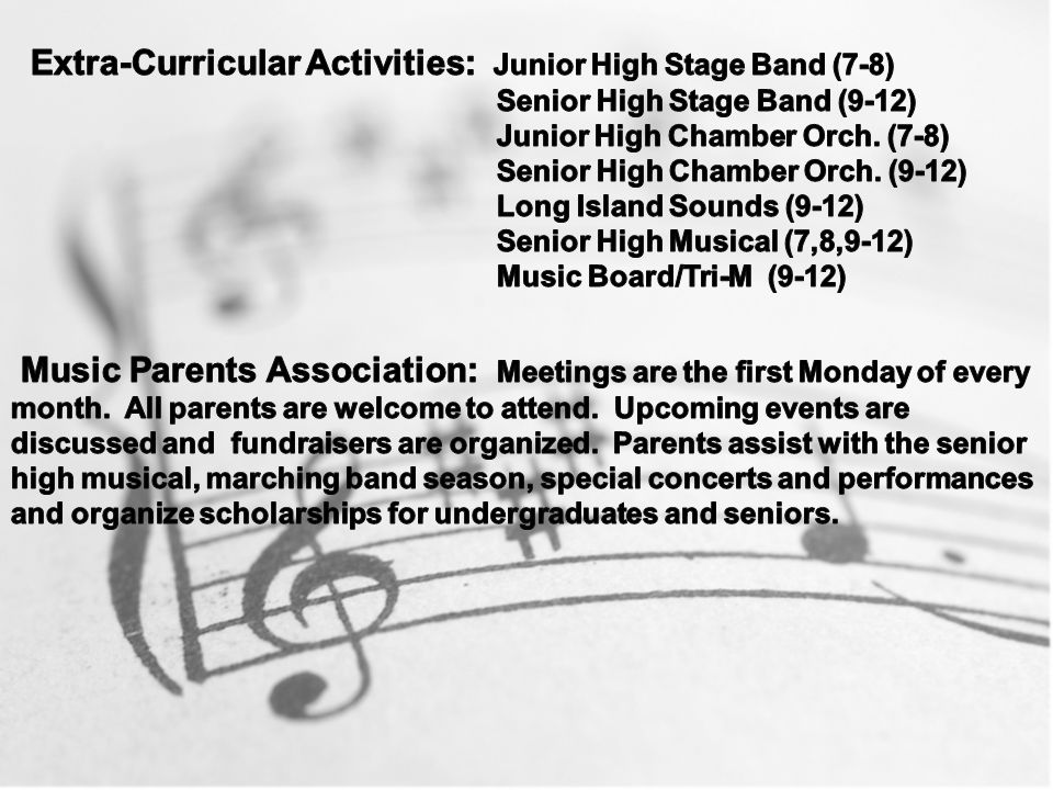 Extra-Curricular Activities: Junior High Stage Band (7-8)