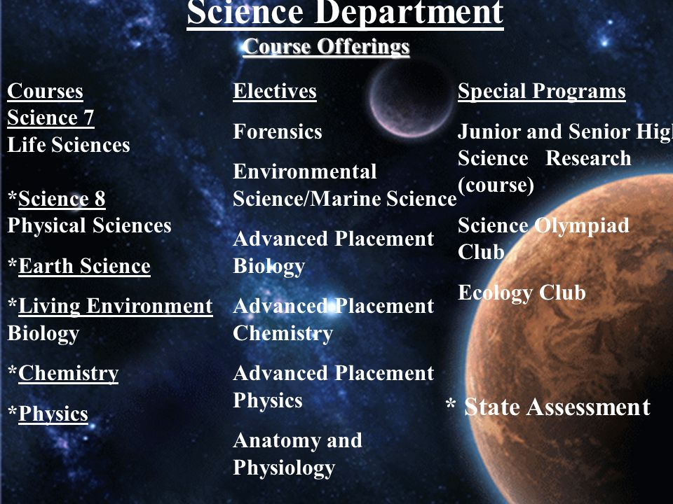 Science Department * State Assessment Course Offerings Courses