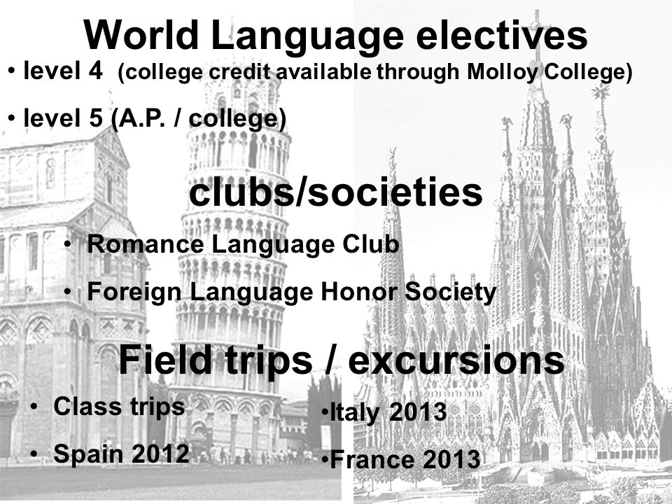World Language electives Field trips / excursions