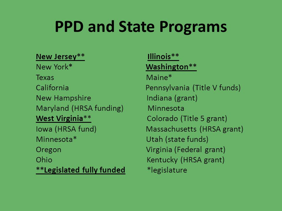 PPD and State Programs