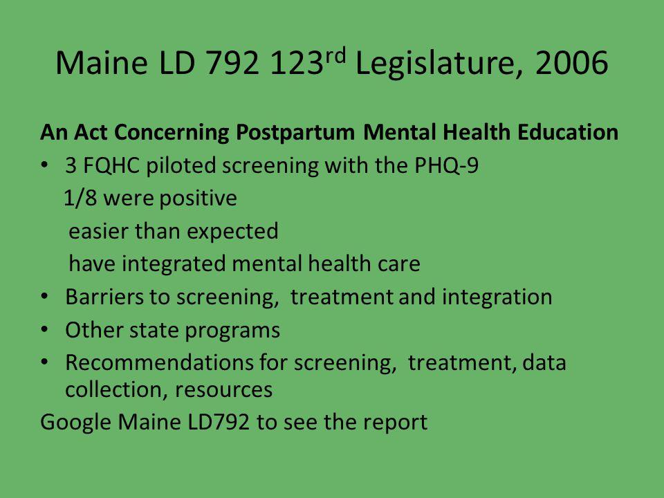 Maine LD 792 123rd Legislature, 2006