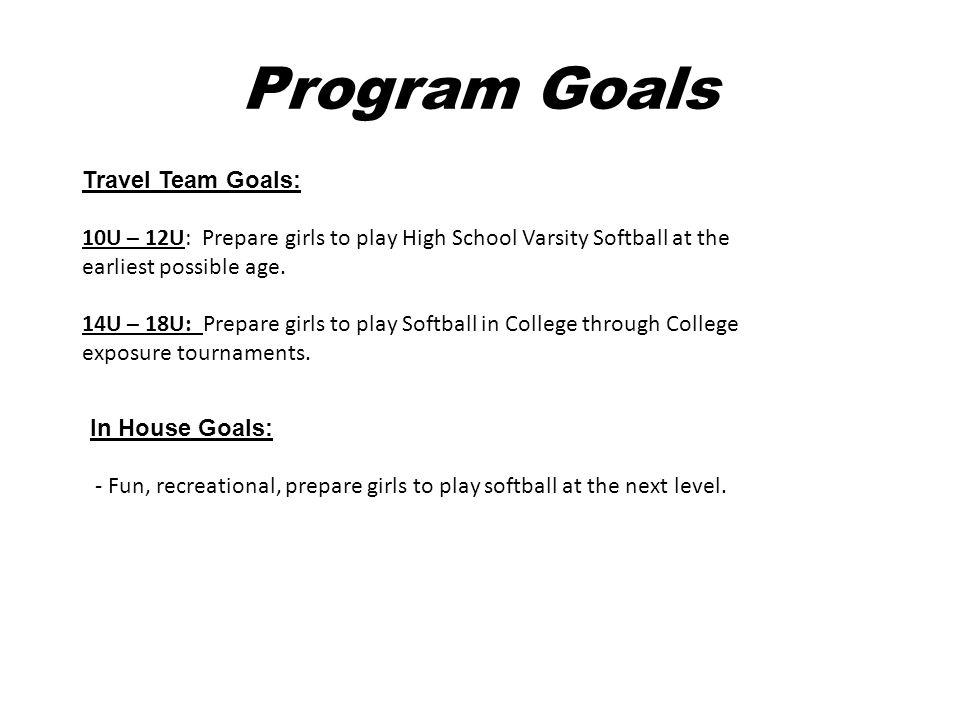 Program Goals Travel Team Goals: