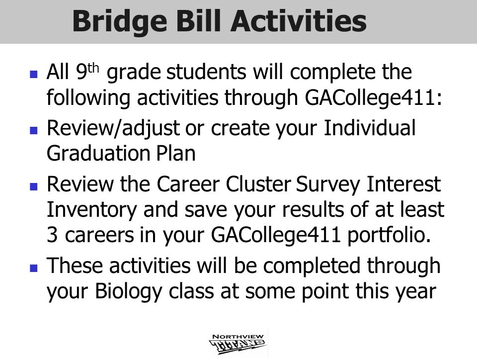 Bridge Bill Activities