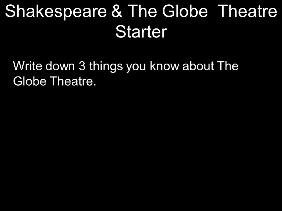 Shakespeare & The Globe Theatre Starter