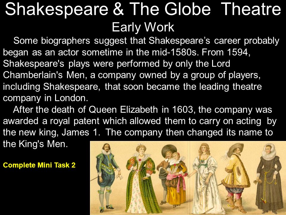 Shakespeare & The Globe Theatre Early Work
