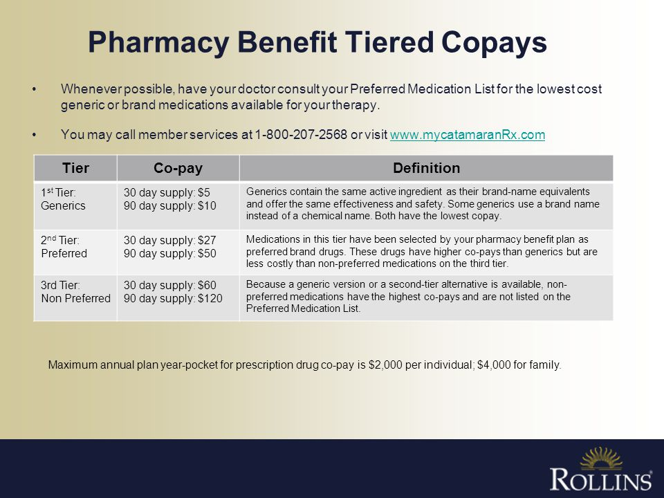 Pharmacy Benefit Tiered Copays
