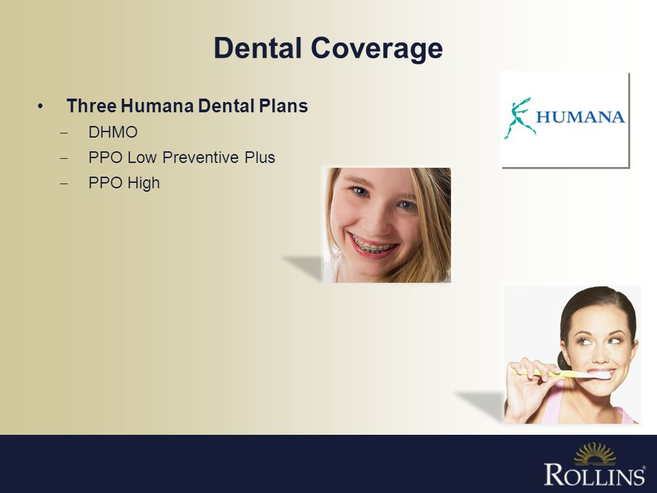 Dental Coverage Three Humana Dental Plans DHMO PPO Low Preventive Plus