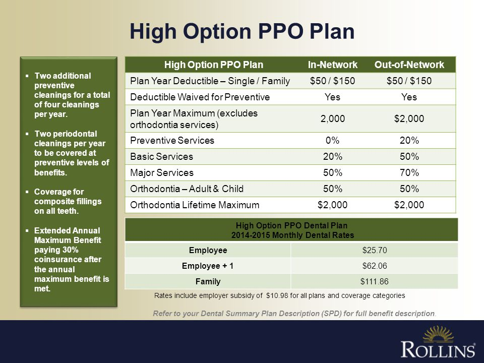 High Option PPO Dental Plan