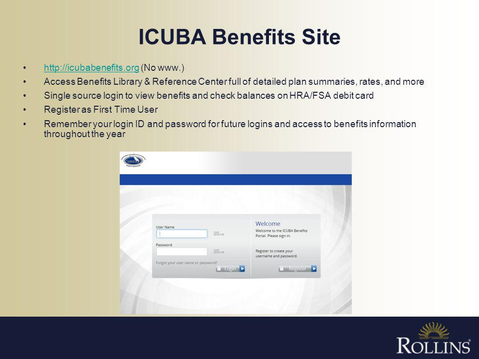 ICUBA Benefits Site http://icubabenefits.org (No www.)