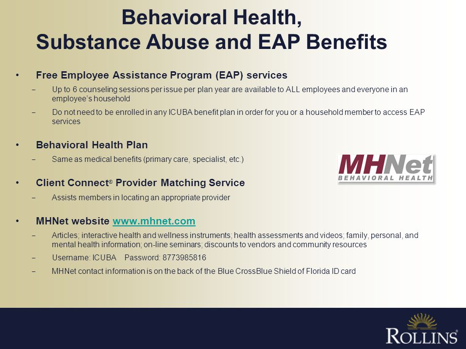 Behavioral Health, Substance Abuse and EAP Benefits