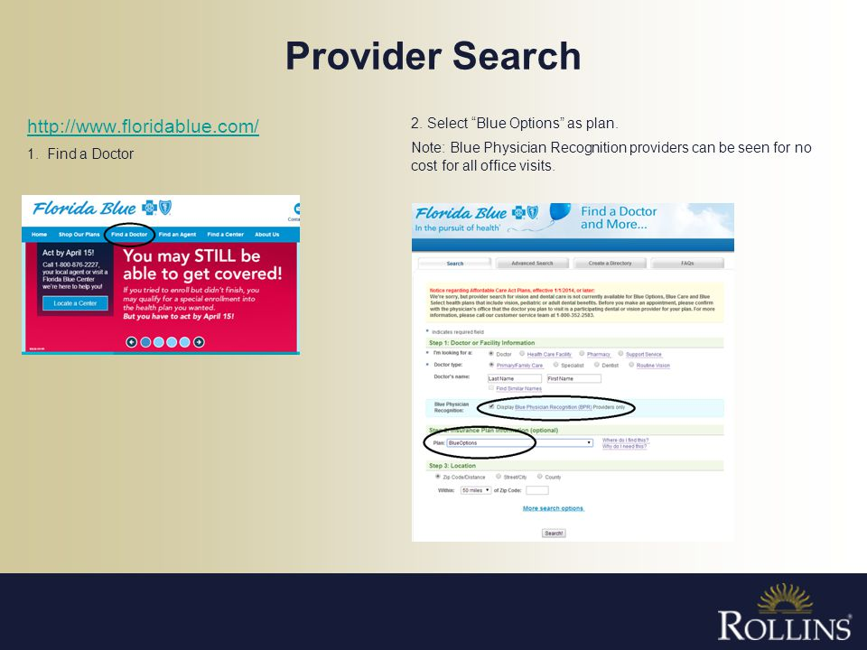 Provider Search http://www.floridablue.com/