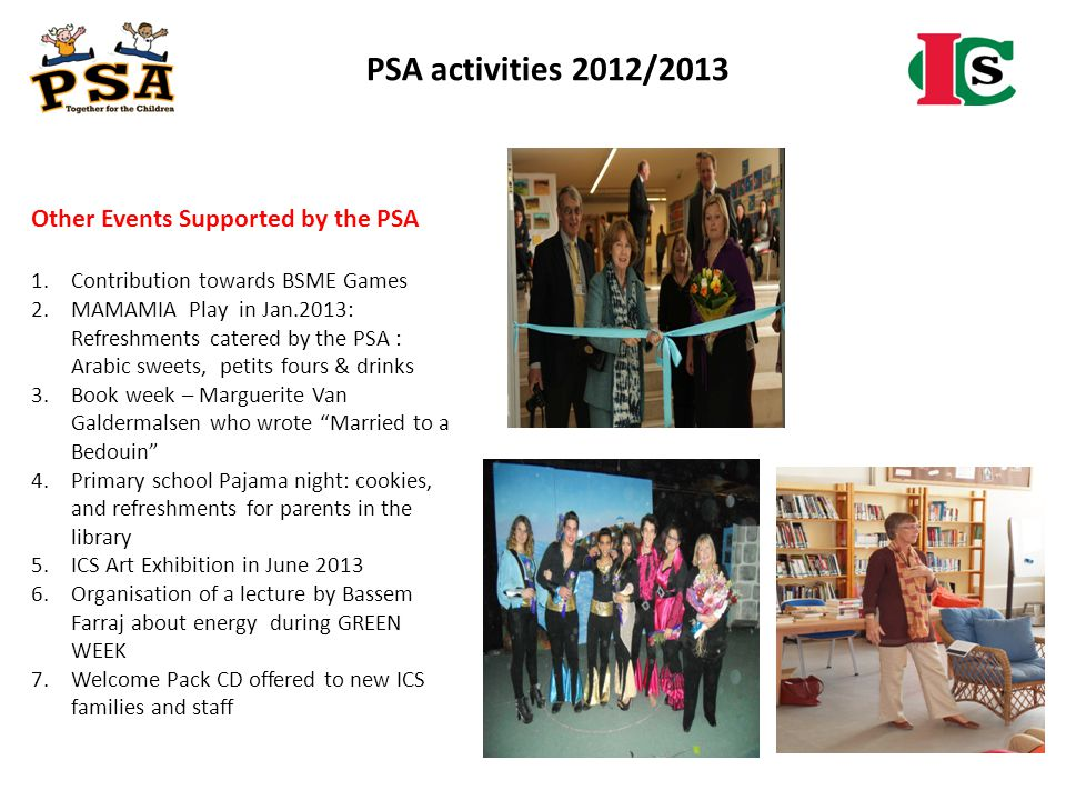 PSA activities 2012/2013 Other Events Supported by the PSA