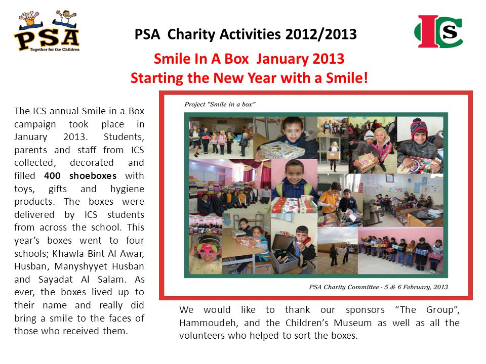 PSA Charity Activities 2012/2013 Starting the New Year with a Smile!
