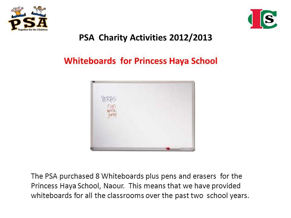 PSA Charity Activities 2012/2013 Whiteboards for Princess Haya School