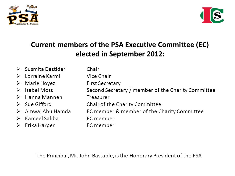 Current members of the PSA Executive Committee (EC)