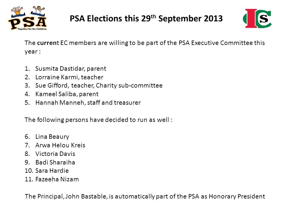 PSA Elections this 29th September 2013
