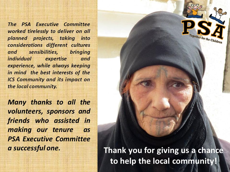Thank you for giving us a chance to help the local community!