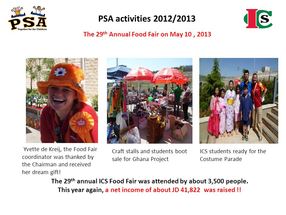 PSA activities 2012/2013 The 29th Annual Food Fair on May 10 , 2013