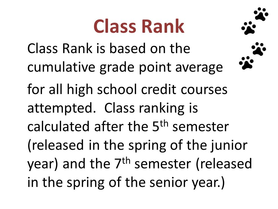 Class Rank Class Rank is based on the cumulative grade point average.