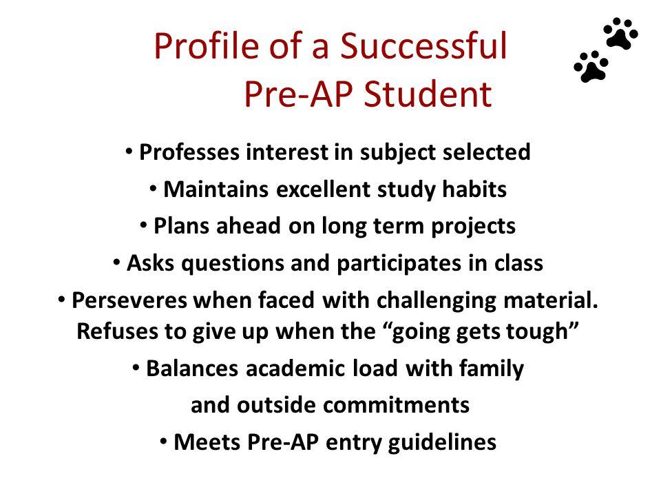 Profile of a Successful Pre-AP Student