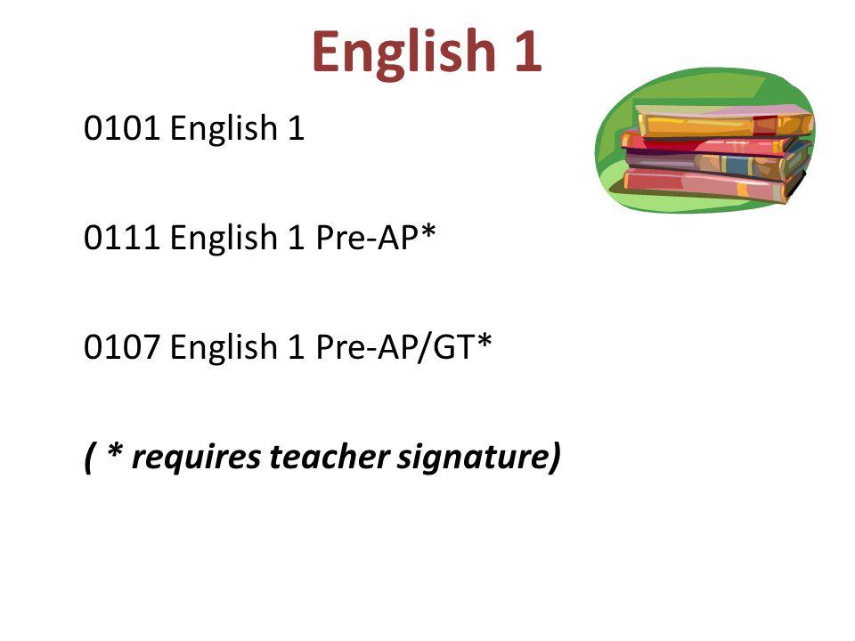 English 1 0101 English 1 0111 English 1 Pre-AP*