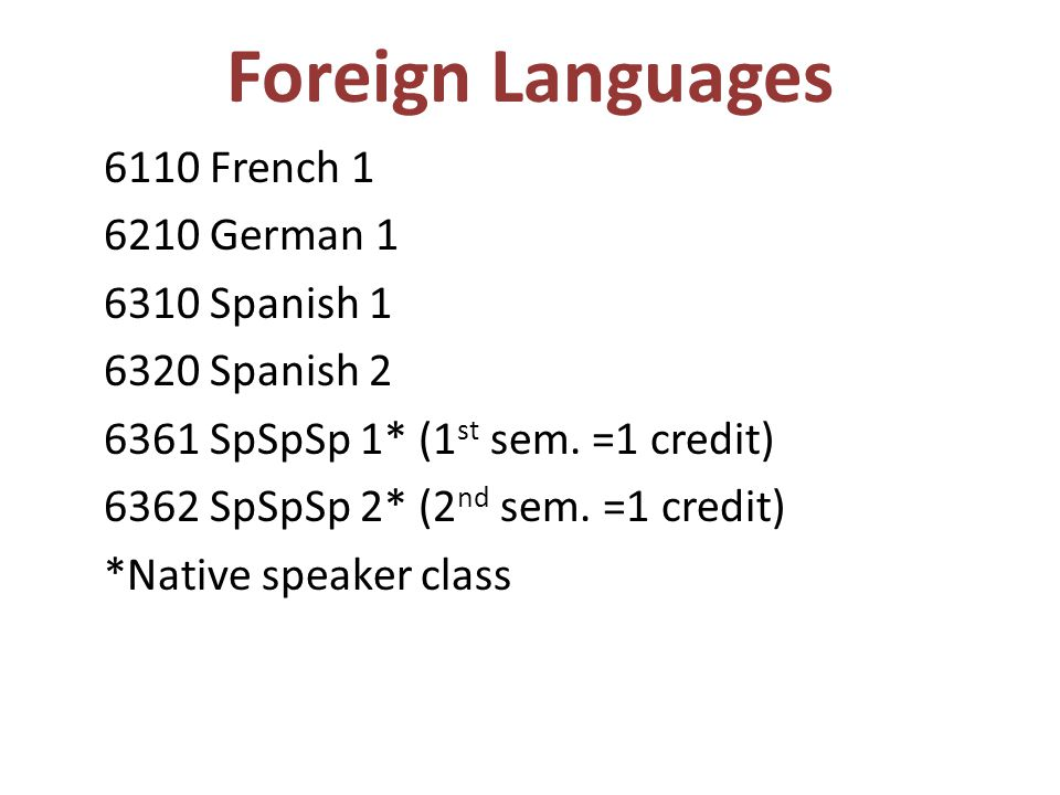 Foreign Languages 6110 French 1 6210 German 1 6310 Spanish 1