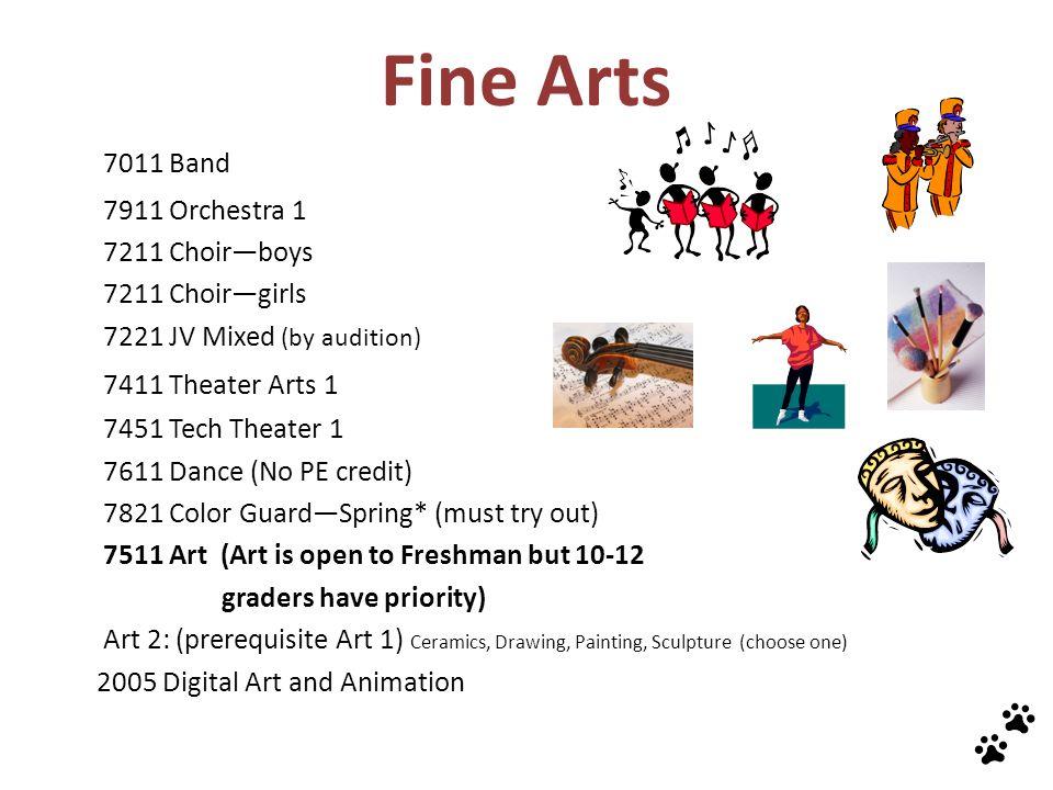 Fine Arts 7011 Band 7411 Theater Arts 1 7911 Orchestra 1