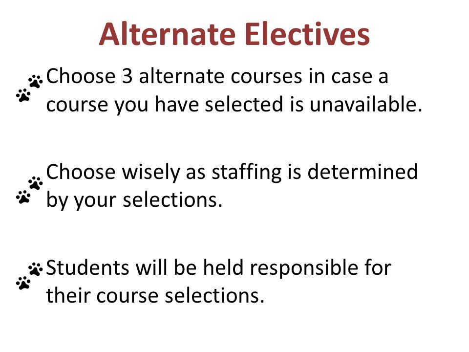 Alternate Electives Choose 3 alternate courses in case a course you have selected is unavailable.