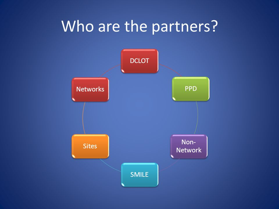 Who are the partners DCLOT PPD Non-Network SMILE Sites Networks