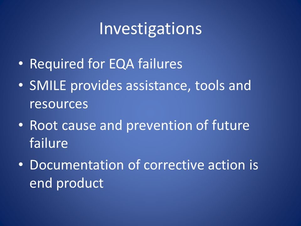 Investigations Required for EQA failures