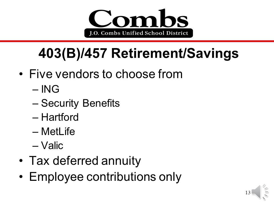 403(B)/457 Retirement/Savings