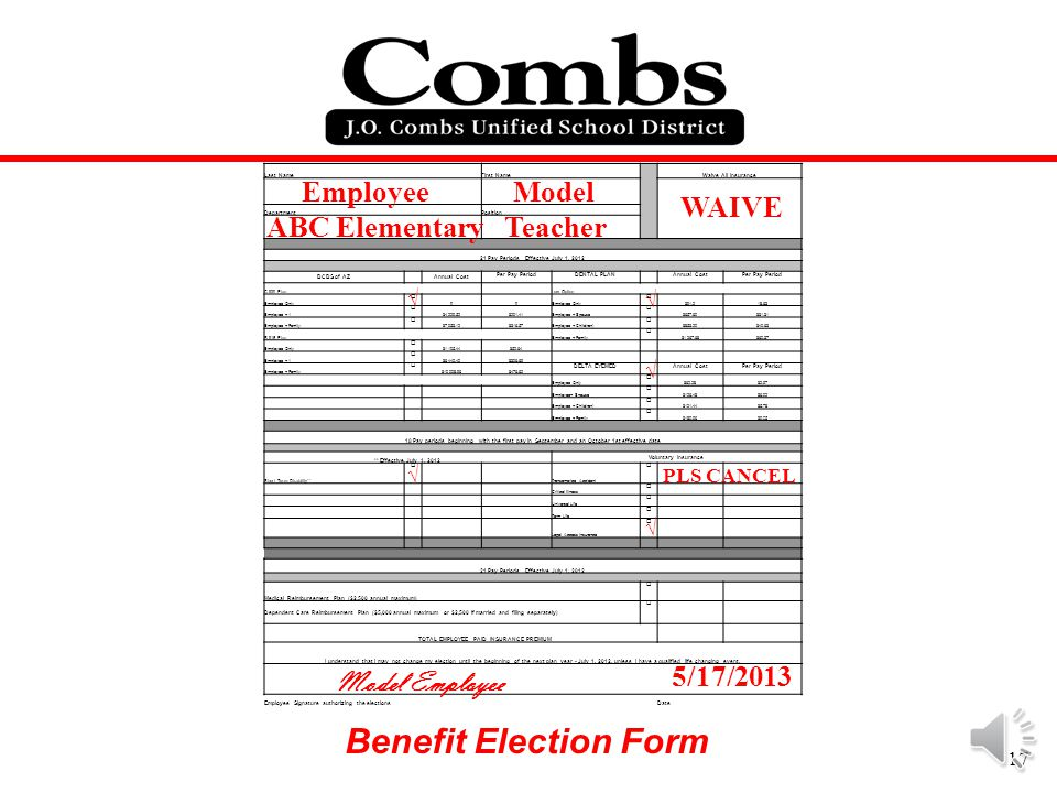 Benefit Election Form Employee Model WAIVE ABC Elementary Teacher