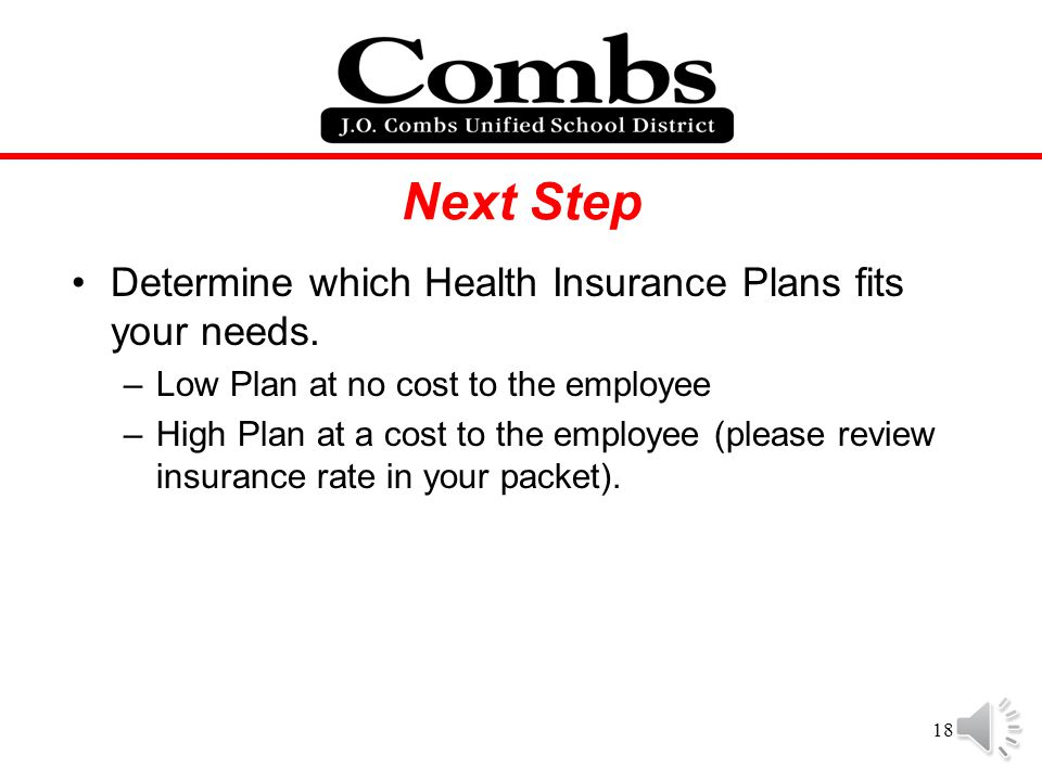 Next Step Determine which Health Insurance Plans fits your needs.