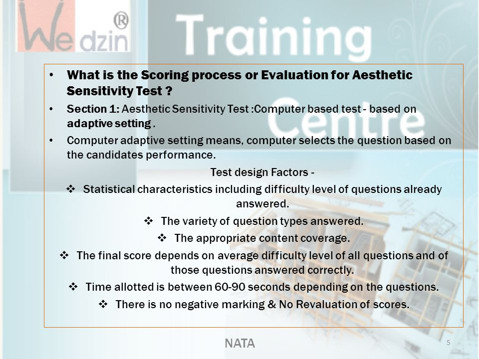What is the Scoring process or Evaluation for Aesthetic Sensitivity Test