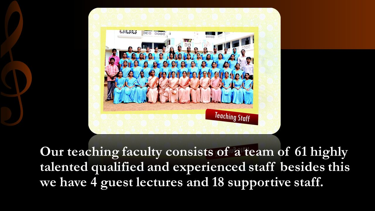 Our teaching faculty consists of a team of 61 highly talented qualified and experienced staff besides this we have 4 guest lectures and 18 supportive staff.