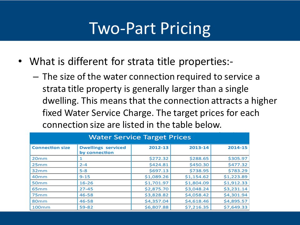 Two-Part Pricing What is different for strata title properties:-