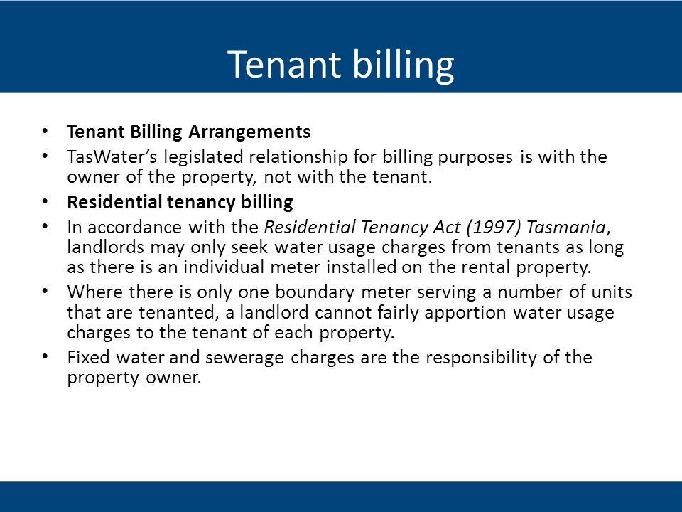 Tenant billing Tenant Billing Arrangements