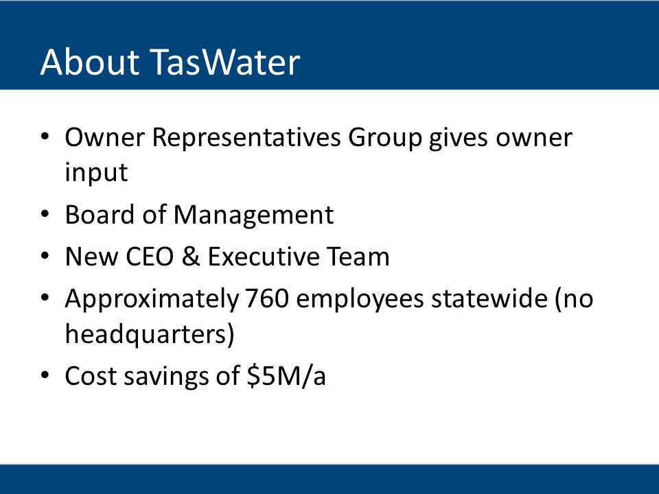About TasWater Owner Representatives Group gives owner input