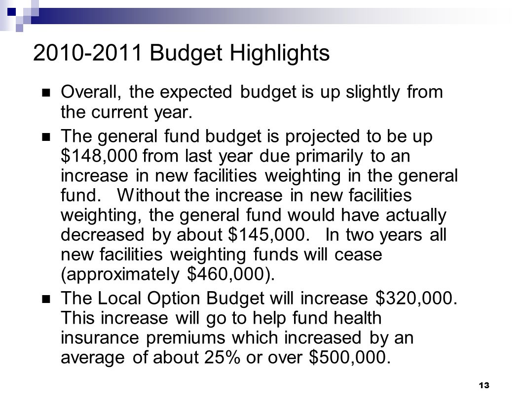 2010-2011 Budget Highlights Overall, the expected budget is up slightly from the current year.