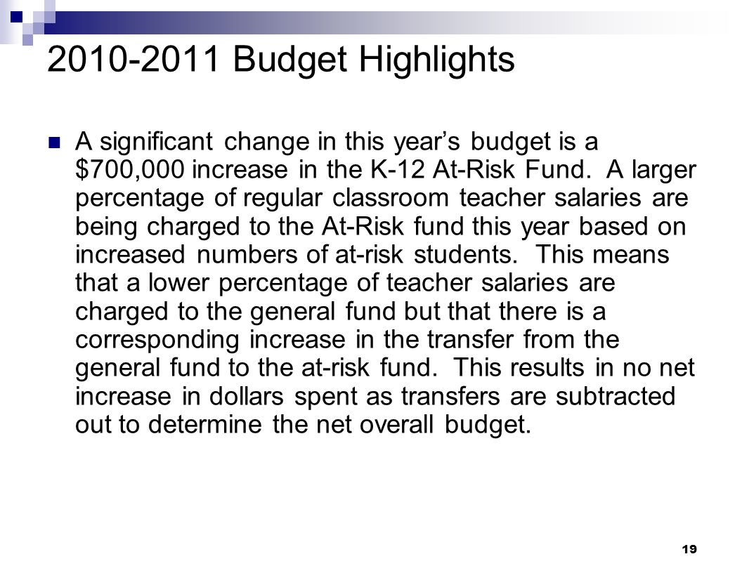 2010-2011 Budget Highlights