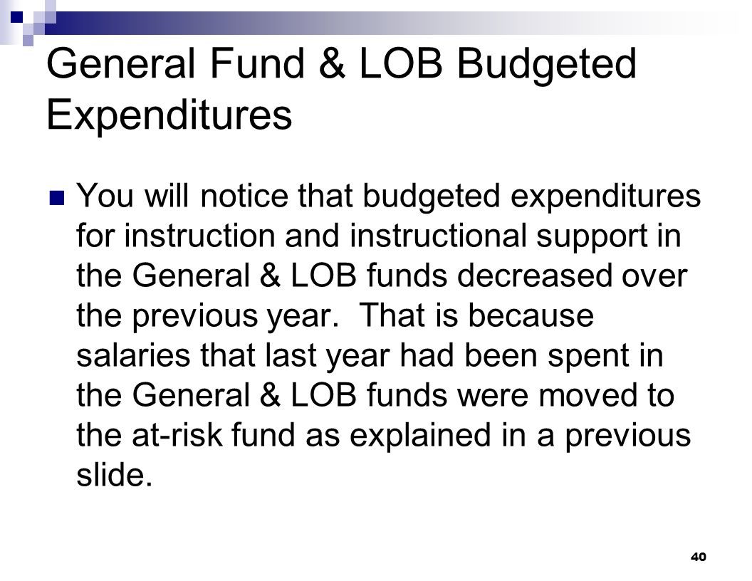 General Fund & LOB Budgeted Expenditures