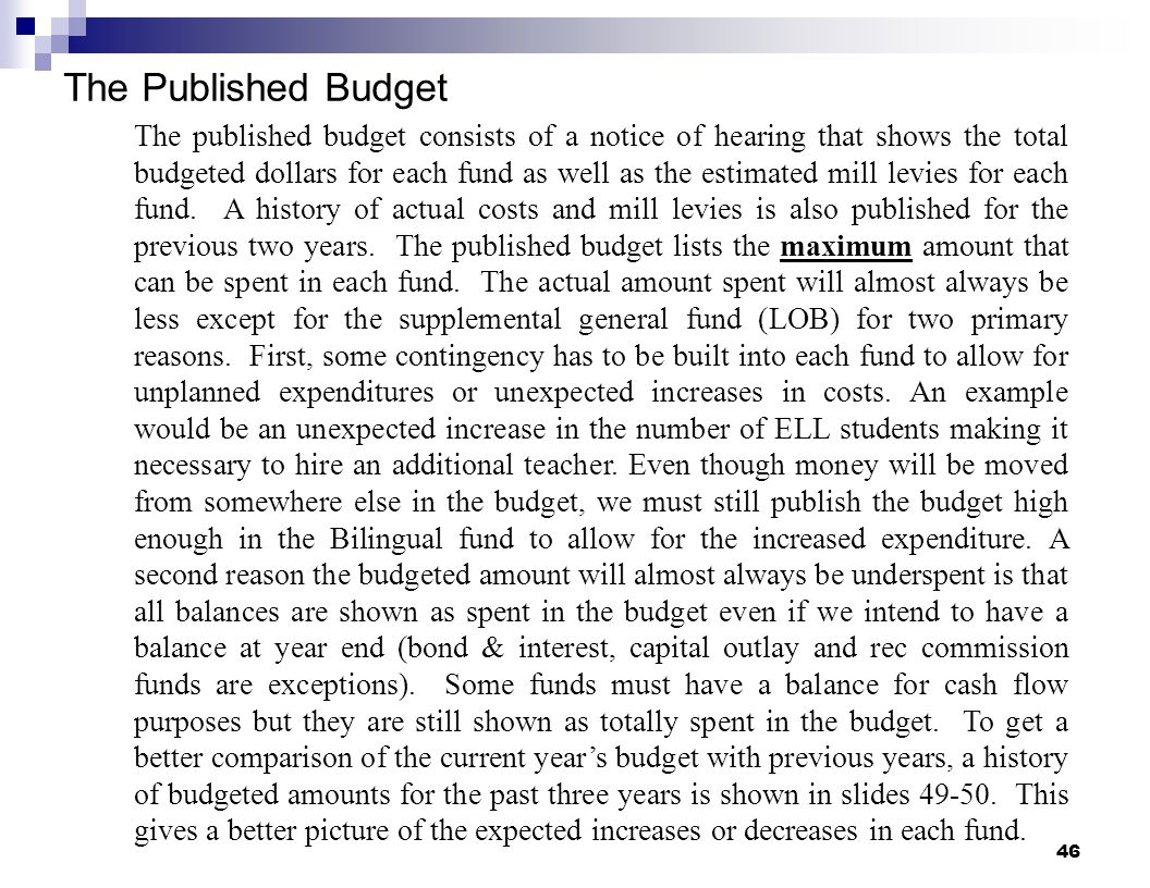The Published Budget