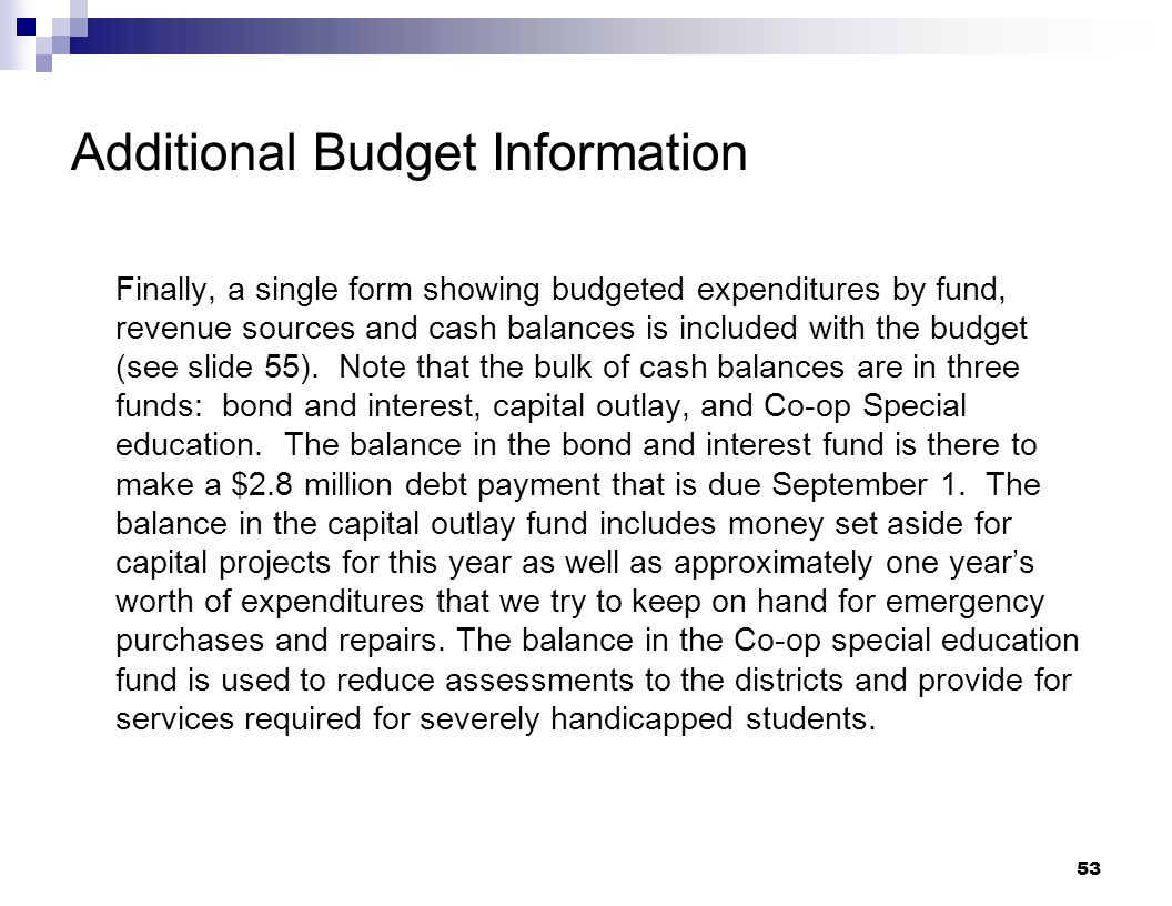 Additional Budget Information