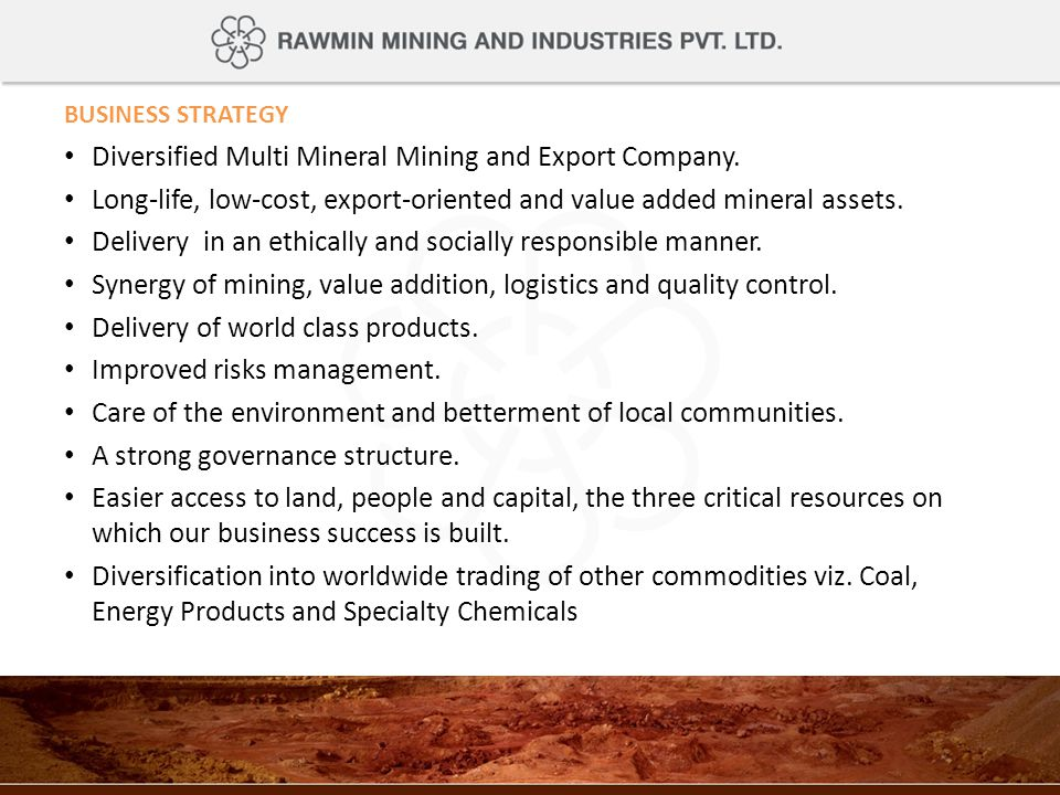 Diversified Multi Mineral Mining and Export Company.
