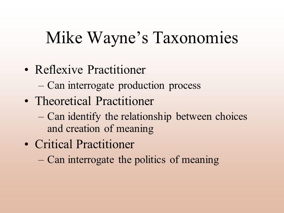 Mike Wayne's Taxonomies