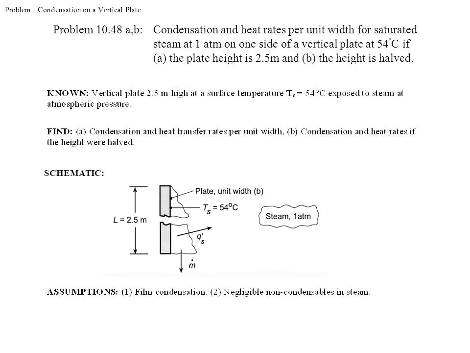 Problem: Condensation on a Vertical Plate